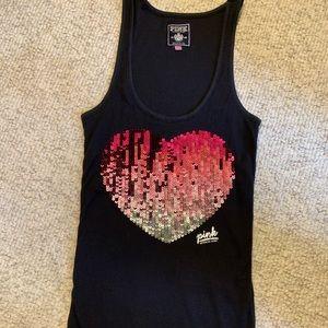 Victoria's Secret Pink Sequined Heart Tank Top